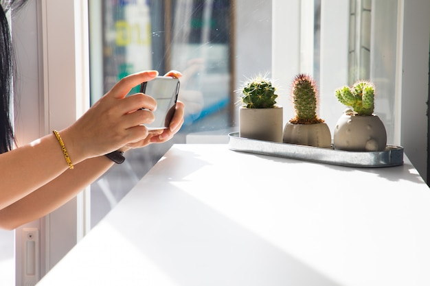 La jeune fille prend un cactus dans un café, hipster