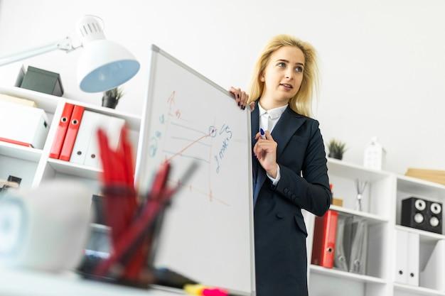 Une jeune fille se tient près d'une table du bureau et explique l'horaire sur le tableau magnétique.
