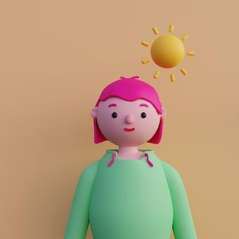 Jeune fille en sweat à capuche avec des cheveux courts roses avatar de jeune fille dans un style art minimal portrait lumineux d'un personnage de dessin animé rendu 3d