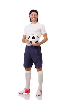 Jeune footballeur isolé sur le blanc