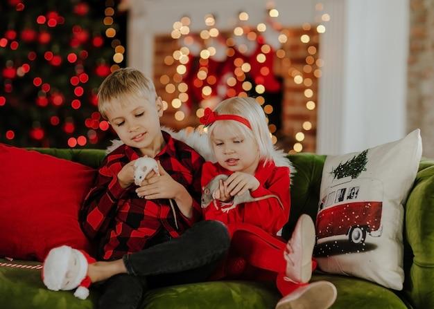 Jeune garçon blond mignon en chemise carrée rouge et jolie fille en robe rouge assis sur un canapé vert