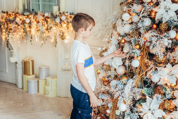 Jeune garçon, décoration, arbre noël