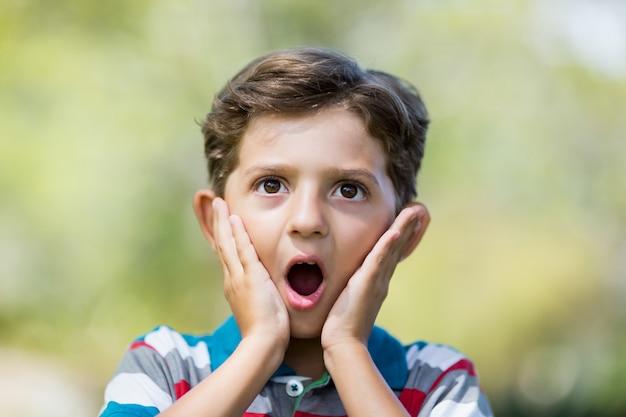 Jeune garçon faisant une expression surprise tout en tirant des grimaces