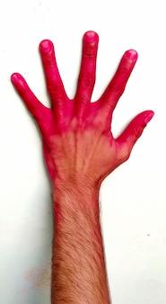 Le jeune garçon a peint des mains à la poudre de couleur dans le festival oh holi