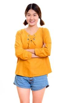 Jeune, heureuse, femme asiatique, sourire, quoique, debout