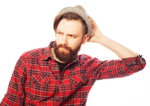 Jeune, hipster, homme, porter, chapeau