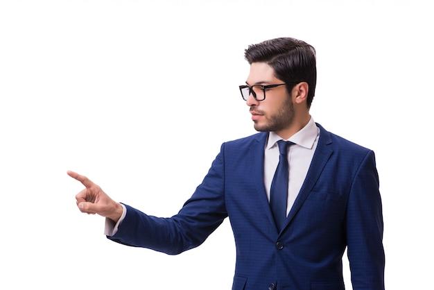 Jeune homme d'affaires en appuyant sur les boutons virtuels isolés