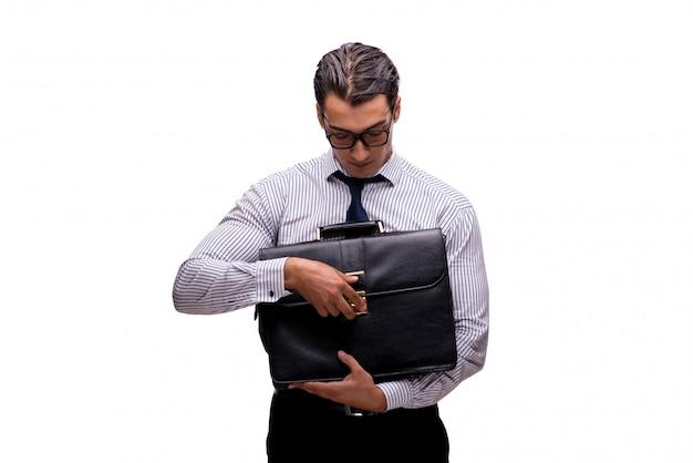 Jeune homme d'affaires au concept d'entreprise isolé sur blanc
