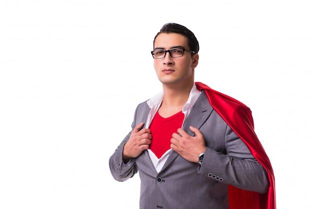 Jeune homme d'affaires avec une couverture rouge sur blanc