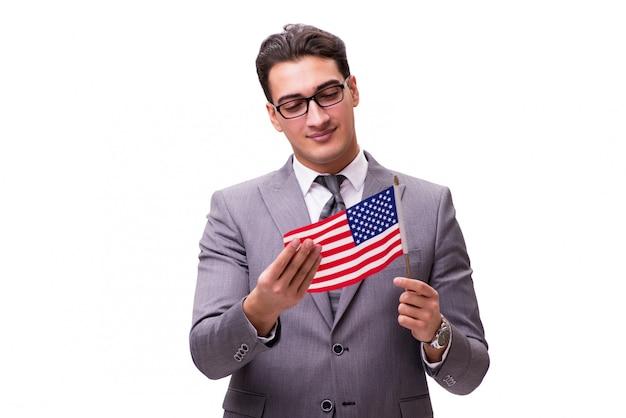Jeune homme d'affaires avec drapeau isolé sur blanc
