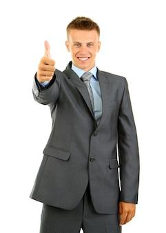 Jeune homme d'affaires isolé sur blanc