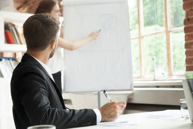 Jeune homme d'affaires en regardant conseil avec graphique de flux de travail.
