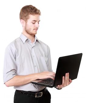 Jeune, homme affaires, utilisation, ordinateur portable, pc
