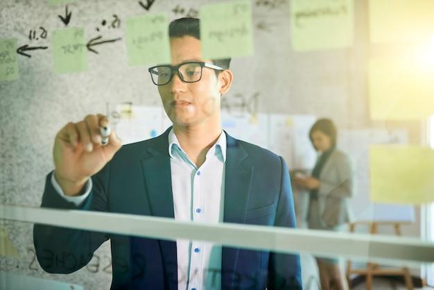 Jeune homme d'affaires vietnamien sérieux et pensif écrivant des pensées et des idées principales sur un mur de verre dans un bureau moderne