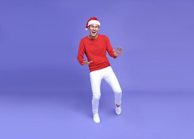 Jeune homme asiatique en tenue décontractée avec danse joyeusement. bonne année.