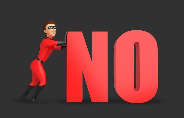 Un jeune homme en costume de super-héros poussant le mot rouge non