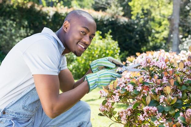 Jeune homme, couper fleurs