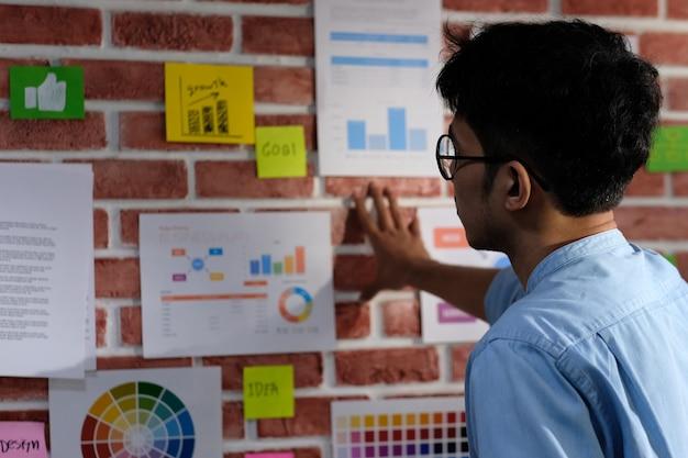 Jeune homme créatif asiatique lisant et réfléchissant sur des idées de travail du papier sur le mur de bureau avec concentration, style de vie de travail