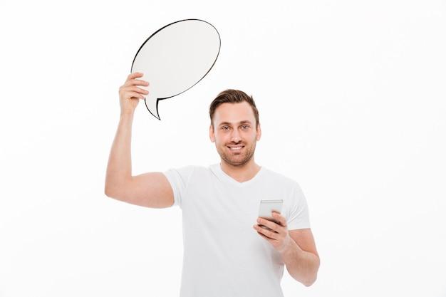 Jeune homme, debout, isolé, tenue, bulle discours