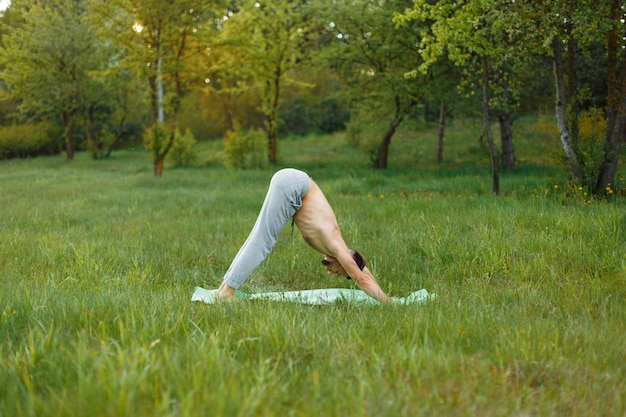 Jeune homme, faire, yoga, dans parc