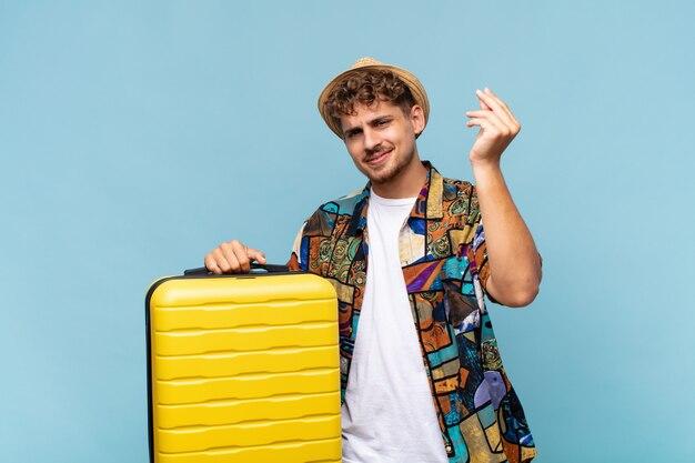 Jeune homme faisant capice ou geste d'argent, vous disant de payer vos dettes!. concept de vacances