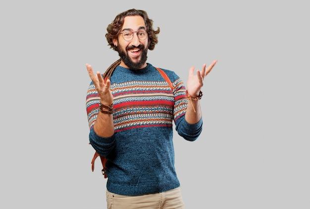 Jeune homme hippie surpris