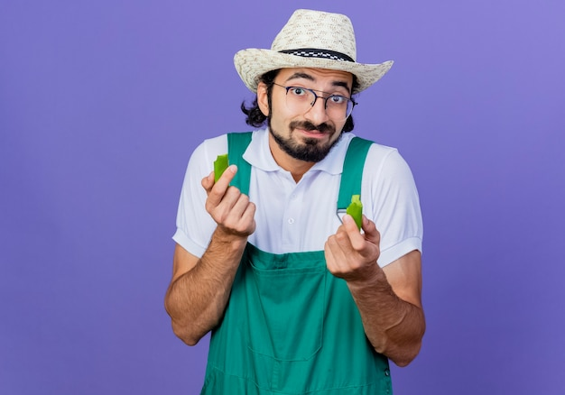 Jeune homme de jardinier barbu portant combinaison et chapeau tenant les moitiés de piment vert à l'avant souriant debout sur le mur bleu