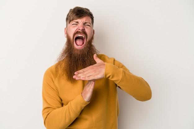 Jeune homme de race blanche au gingembre avec une longue barbe isolé sur fond blanc montrant un geste de temporisation.