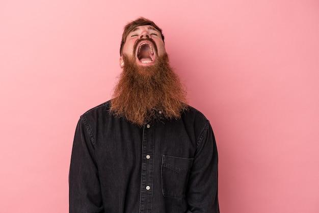 Jeune homme de race blanche au gingembre avec une longue barbe isolé sur fond rose criant très en colère, concept de rage, frustré.