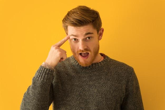 Jeune homme rousse visage agrandi faisant un geste de déception avec le doigt