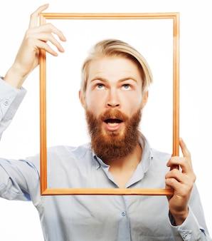 Jeune homme, tenue, cadre photo