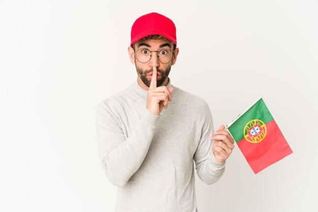 Jeune homme, tenue, a, drapeau portugal