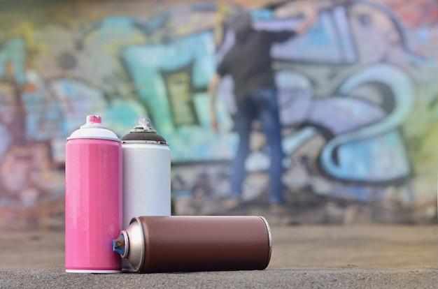 Le jeune homme en train de peindre des graffitis