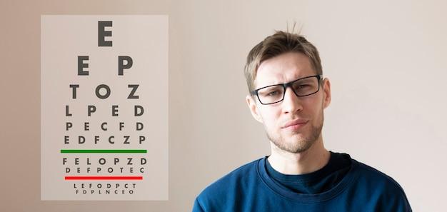 Un jeune homme vérifie la vision de la vue, examine la santé avec un tableau de lettres de test