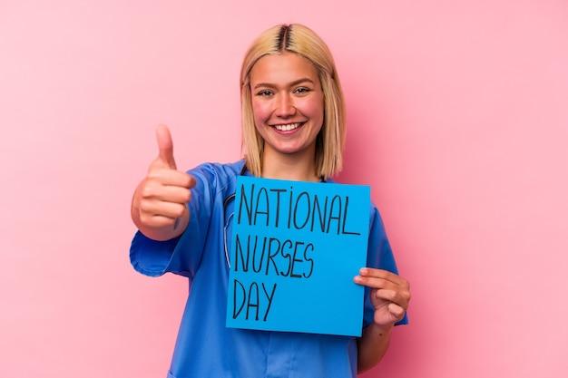 Jeune, infirmière, femme, tenue, a, international, infirmières, femme