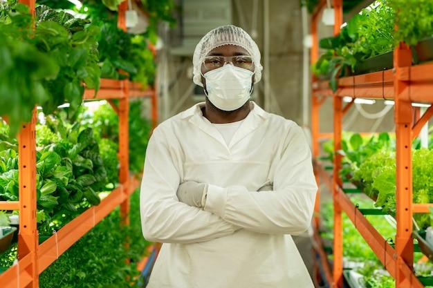 Jeune ingénieur agronome en vêtements de travail protecteurs croisant les bras sur la poitrine en se tenant entre les étagères avec des semis de laitue en croissance