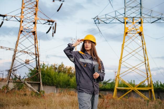Un jeune ingénieur inspecte et contrôle l'équipement de la ligne électrique