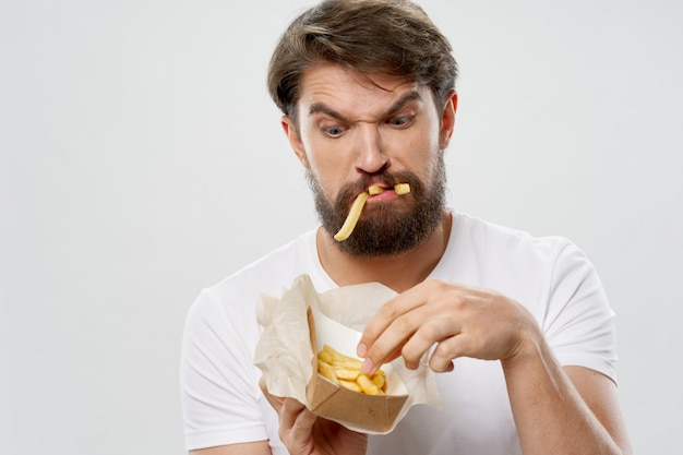 Jeune, manger, français, pommes terre