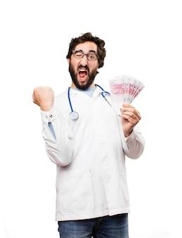 Jeune médecin avec des factures en euros