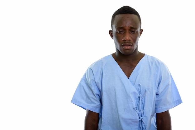 Jeune, noir, homme africain, patient, regarder, fatigué