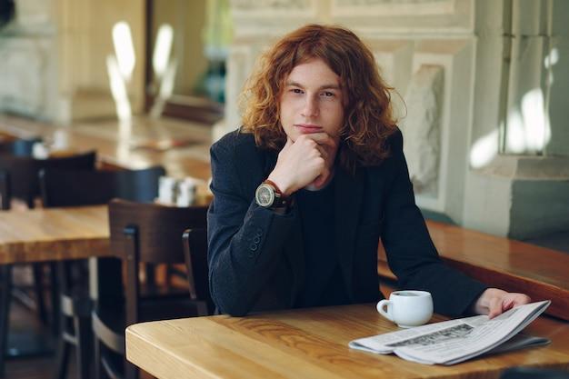 Jeune, pensée, quoique, avoir, café