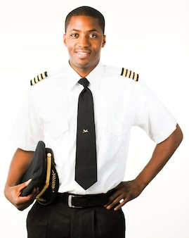 Jeune pilote isolé sur blanc
