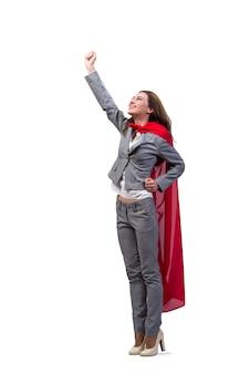 Jeune superwoman isolée sur blanc