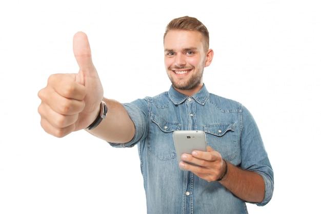 Jeune, tenue, téléphone portable, pouce haut