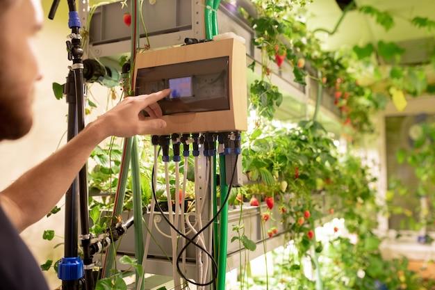 Jeune travailleur de serre choisissant la température optimale pour les fraisiers tout en touchant le petit écran sur le panneau de commande de l'appareil automatique