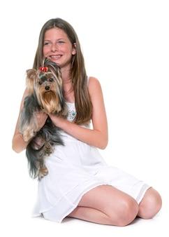 Jeune yorkshire terrier et enfant