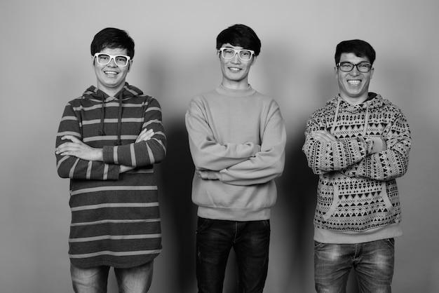 Jeunes amis asiatiques portant des vêtements chauds ensemble
