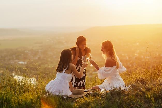 Jeunes ayant pique-nique d'été et manger et boire du vin blanc ensemble assis au sommet de la montagne.