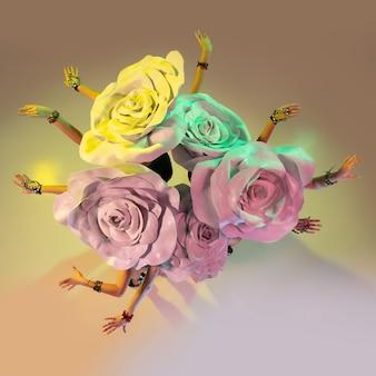 Jeunes danseuses avec d'énormes chapeaux floraux en néon sur mur dégradé