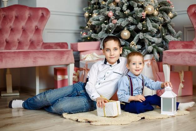 Jeunes frères près de l'arbre de noël